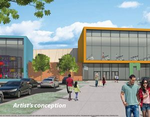 Drawing of early concept for exterior of recreation center